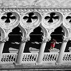 Woman in red in the ducal palace of Venice by Luciano Fortini