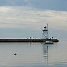 Grand Marais Harbor Light House  by Tina Hailey