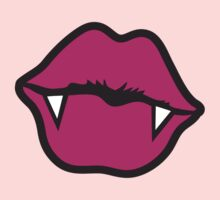 Vampire kiss Lips pink with teeth by jazzydevil