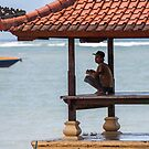 Young Man On Pavillion, Sanur, Bali by Vince Russell