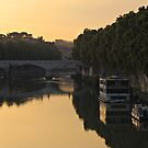 Sunset over river Tiber in Rome by kirilart