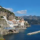 Distant view of Atrani on Amalfi coast by kirilart