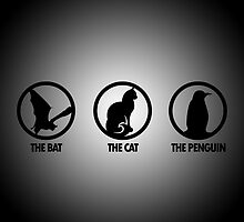 The Bat The Cat The Penguin by jpmdesign