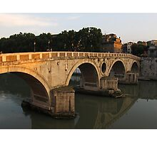 Sunset at bridge Ponte Sisto in Rome Photographic Print