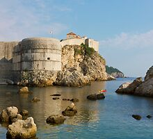 Dubrovnik view toward the old fortress city wall by kirilart