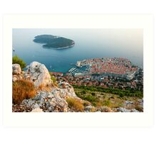 Panoramic view of the Old Town Dubrovnik and Island Lokrum Art Print