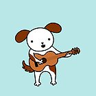 Puppy Playing Acoustic Guitar - Practice Makes Perfect  by zoel