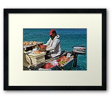 Conch salad minute in Nassau, The Bahamas Framed Print