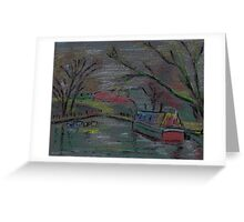 Boats on river-pastel sketch Greeting Card