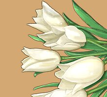 White Tulips by Zdenek Sasek