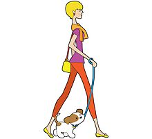 Lady Walking Puppy by Maria Bell