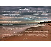 Desiderata Inspirational Poem on Seashore Photographic Print