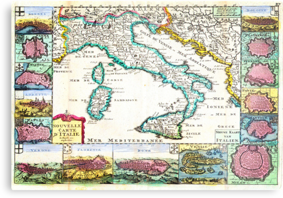 1706 de la Feuille Map of Italy Geographicus Italy lafeuille 1706 by Adam Asar