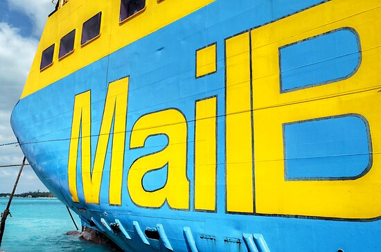 """National Bahamian Colours for the Cargo Boat """"Fiesta Mail"""" in Nassau, The Bahamas by 242Digital"""