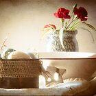 red rimmed bowl by Lynn McCann