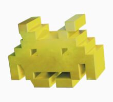 Yellow 3d Space Invader. by LewisJamesMuzzy