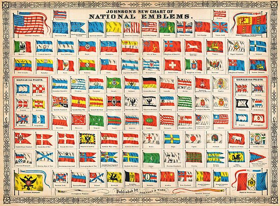 1864 Johnson Chart of the Flags and National Emblems of the World Geographicus Flags johnson 1864 by Adam Asar