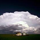 Storm clouds over Saskatchewan granaries by pictureguy