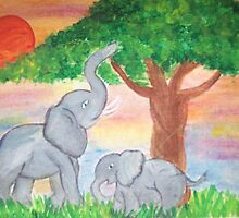 Mama and Baby Elephants  by EliseMarie