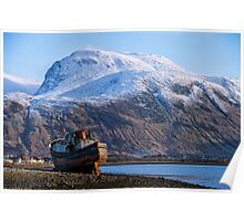 Ben Nevis and Old Fishing Boat Poster