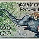 1958 Laos Elephant Stamp by DrBillCreations