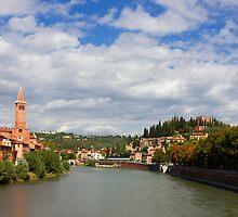 Verona Adige River view Toward Castel San Pietro by kirilart