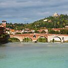 Panoramic view of Ponte Pietra in Verona by kirilart