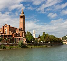 Panoramic view of Dominican church of Sant'Anastasia in Verona by kirilart