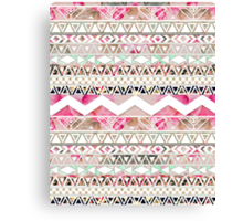 Girly Pink White Floral Abstract Aztec Pattern Canvas Print