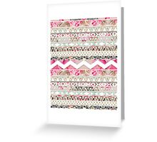 Girly Pink White Floral Abstract Aztec Pattern Greeting Card