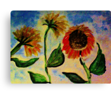 3 sunflowers in the wind, watercolor Canvas Print