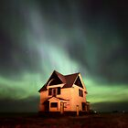 Northern Lights over Saskatchewan farmhouse by pictureguy