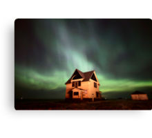 Northern Lights over Saskatchewan farmhouse Canvas Print