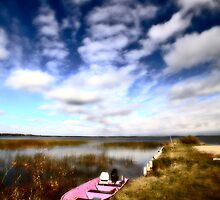 Pink boat in scenic Saskatchewan by pictureguy