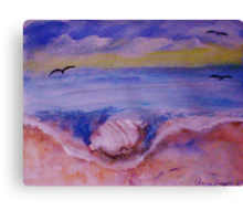 Conch shell washed up, watercolor Canvas Print