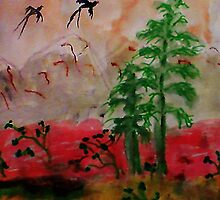Bird flying over pines, Asian painting, watercolor by Anna  Lewis