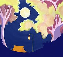 Campsite Under the Moon by NightBloomer