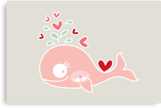 Whimsical Cute Twins Baby Pink Pregnant Whale by fatfatin