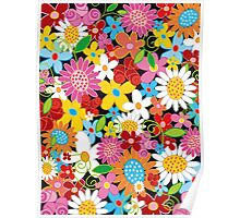 Colorful Spring Flowers Garden Poster