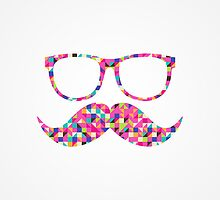Funny Girly Pink Abstract Mustache Hipster Glasses by RailtonRoad