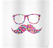 Funny Girly Pink Abstract Mustache Hipster Glasses Poster