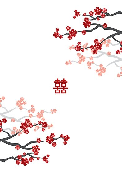 Red Sakura Cherry Blossoms & Chinese Double Happiness by fatfatin