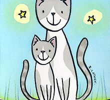 Cat and Kitten - grey & white  by zoel