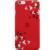 White Sakuras on Red and Double Happiness iPhone Case/Skin
