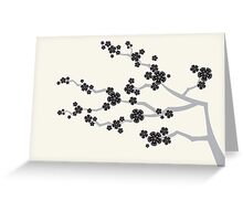 Black Sakura Cherry Blossoms Flowers Greeting Card