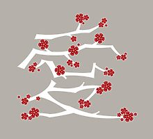 Red Sakura Cherry Blossoms Chinese Ai / Love (White) by fatfatin