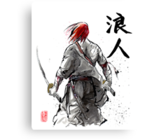 Ronin Holding Swords Sumie and calligraphy Canvas Print