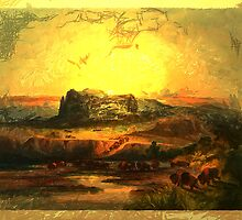 'Bison on the Upper Missouri' from an aquatint by Karl Bodmer by Dennis Melling