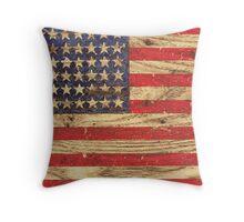 Vintage Patriotic American Flag on Old Wood Grain Throw Pillow