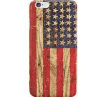 Vintage Patriotic American Flag on Old Wood Grain iPhone Case/Skin